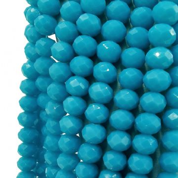150 x 3mm Rondelle Faceted Glass Beads Blue 099